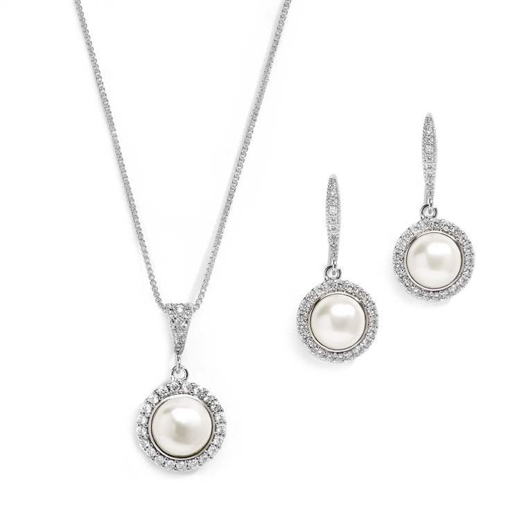 Freshwater Pearl Necklace Set with Inlaid CZ Frame<br>4587S-S