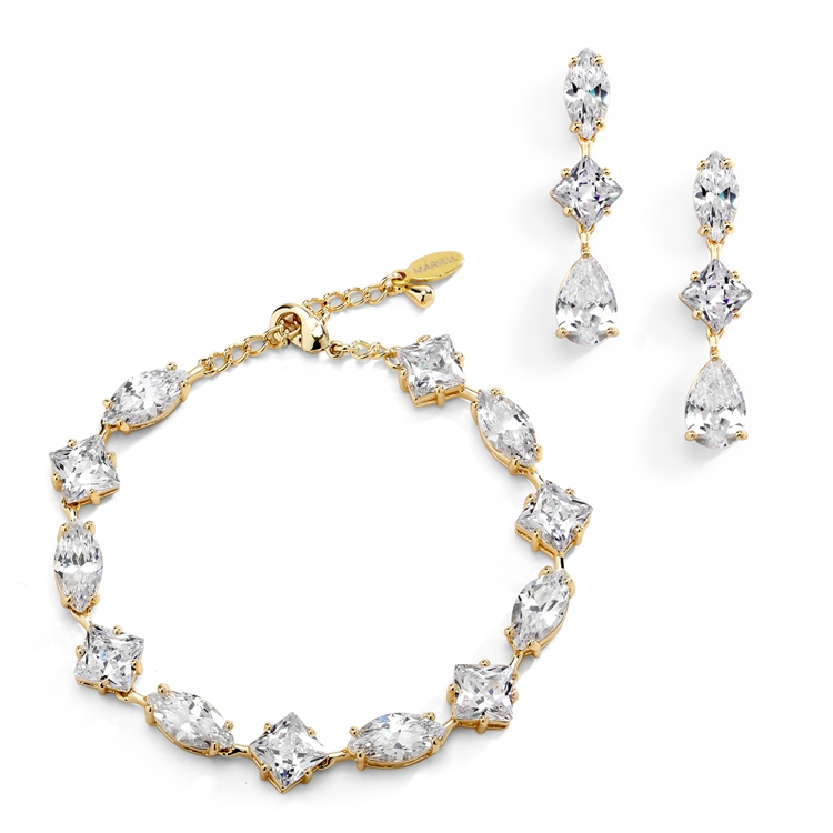 Elegant Cubic Zirconia Multi-Shape Bridal Bracelet and Earrings Set in 14K Gold<br>4588BS-G