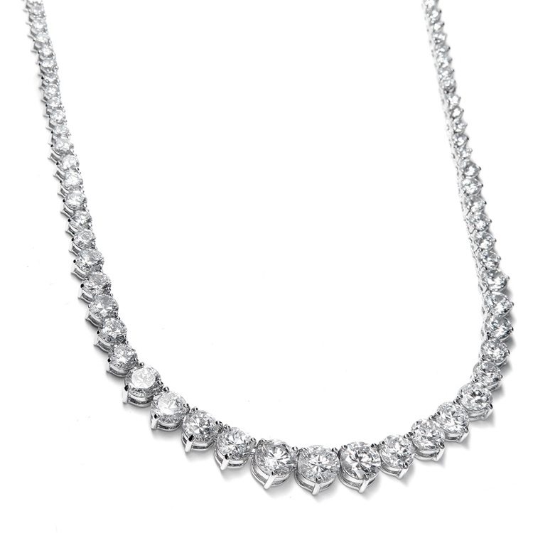 Graduated Cubic Zirconia Tennis Necklace<br>531N