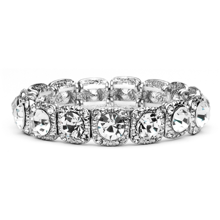 Bridal or Prom Stretch Bracelet with Solitaires<br>532B-CR
