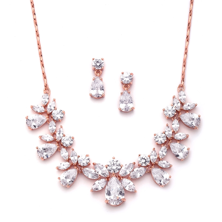 Multi Pear Shaped CZ Necklace Set with in Rose Gold with Delicate Chain<br>578S-RG
