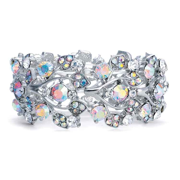 New Lower Price! Bold Crystal AB Vine Wedding Stretch Bracelet<br>644B