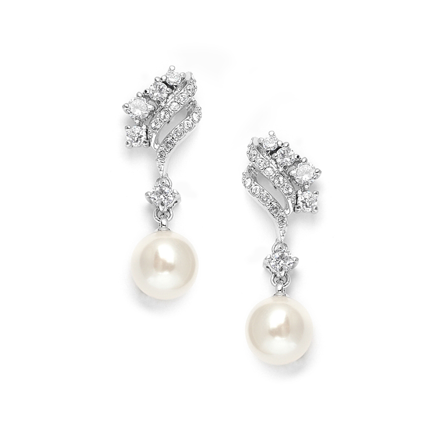 Cubic Zirconia Waves Wedding Earrings with Cream Pearls<br>705EC