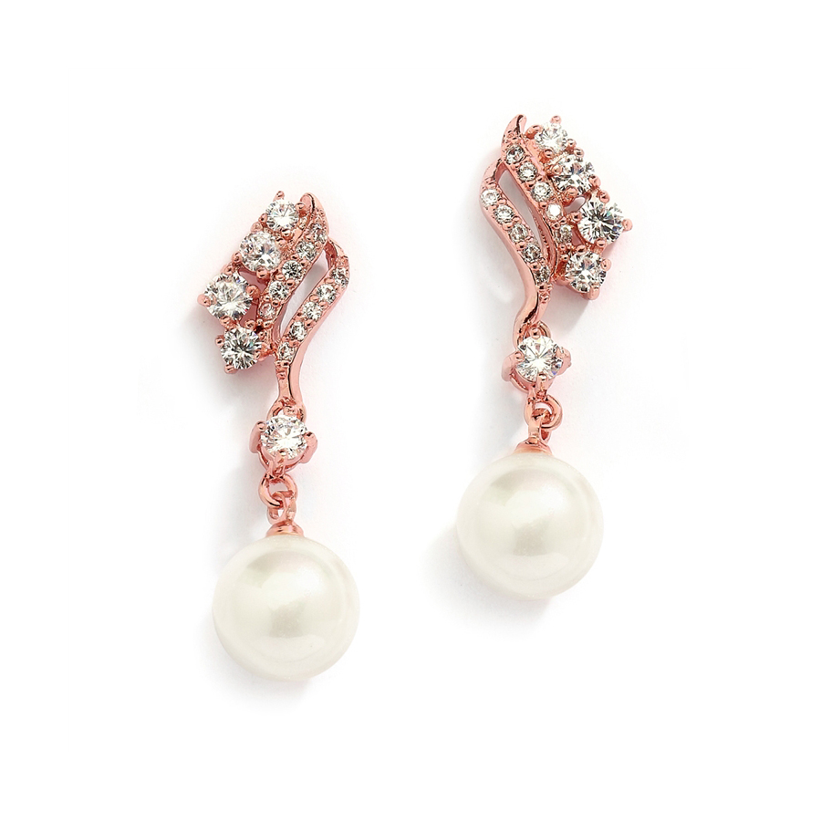 Cubic Zirconia Waves Wedding Earrings with Ivory Pearls<br>705EC-RG