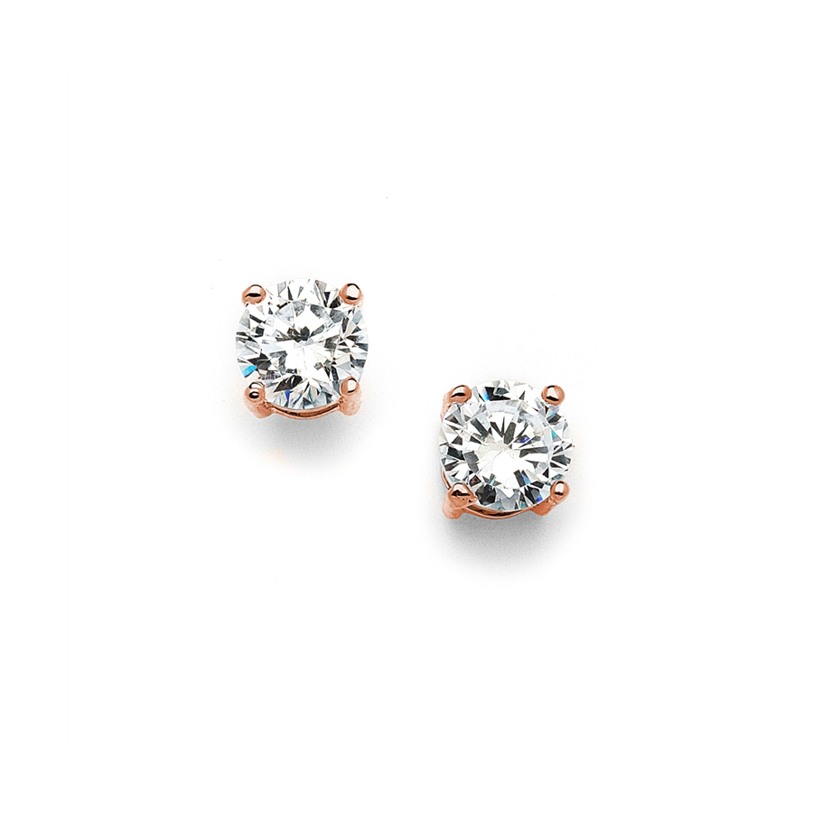 8mm Rose Gold Round Cubic Zirconia Stud Earrings<br>708E-CR-RG