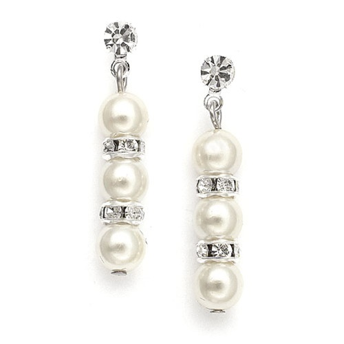 Alternating Pearl and Rondelle Wedding Earrings<br>709E