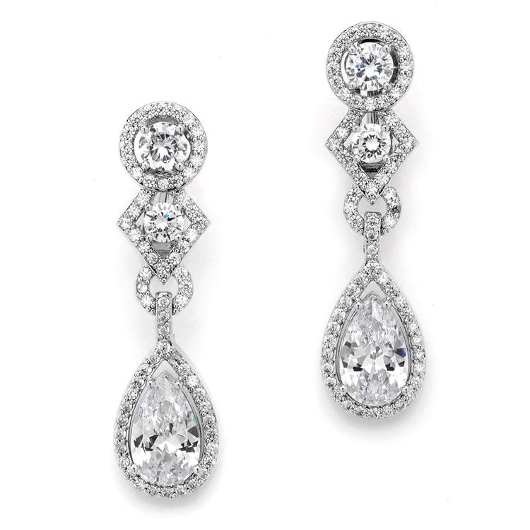 Art Deco Cubic Zirconia Wedding Earrings with Pear Dangle<br>E037