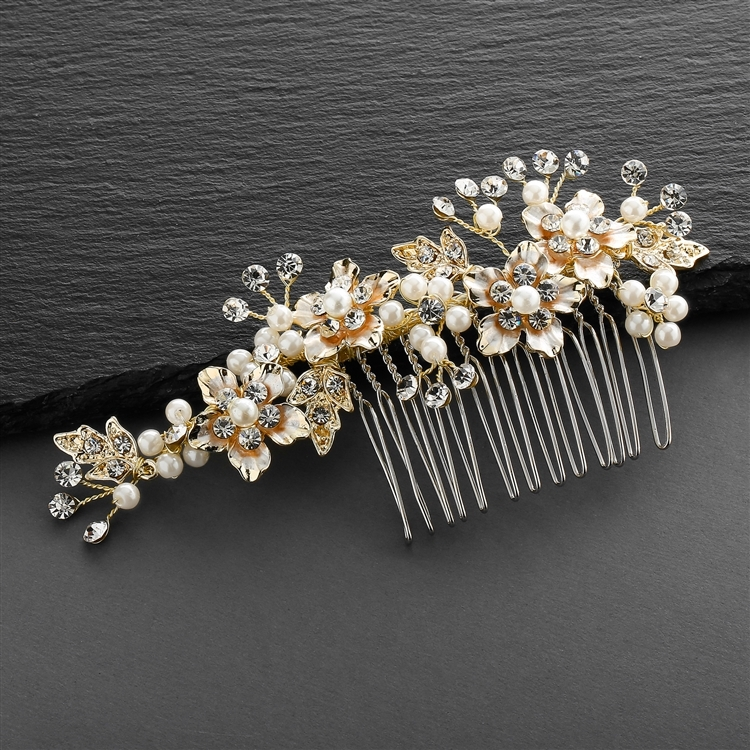 Brushed Gold and Ivory Pearl Wedding Comb<br>H001-I-G