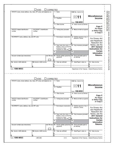 1099 Miscellaneous Tax Forms 500 Sheets Lmb500