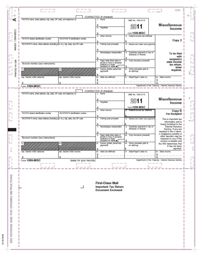 1099 Misc Pressure Seal Tax Forms 500 Sheets Ps353