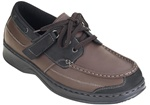 Orthofeet 422 - Men's Black & Brown Tie-less Boat Shoe