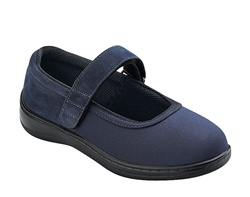 Orthofeet Springfield  826 Women's Stretchable Navy Blue Mary Jane Shoes