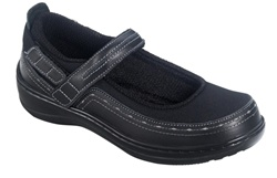 Orthofeet  Chickasaw 877 Women's Black Elastic Mary Jane Shoes