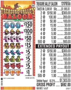 $150 TOP - Form # 1210YB Treasure Valley Saloon 50 Cent Ticket