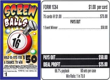 $*50 TOP - Form # 1C64 Screw Balls $1.00 Bingo Event Ticket