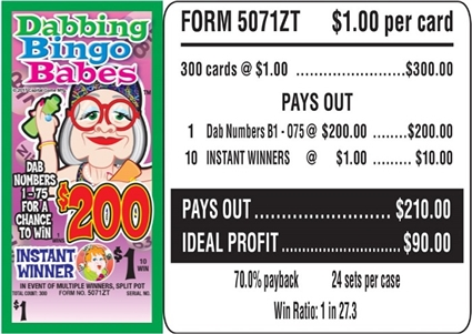 $200 TOP - Form # 5071ZT Dabbing Bingo Babes $1.00 Bingo Event Ticket