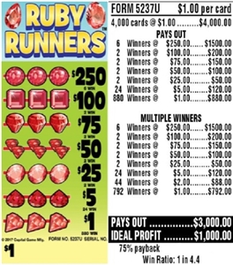 5237U Ruby Runners $1.00 Ticket