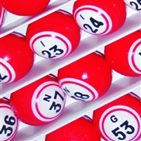 Bingo Balls - Red Double-Numbered