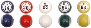 Bingo Balls - Multi-Colored Double-Numbered