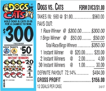 $300 TOP - Form # DVC3 Dog vs. Cats $1.00 Bingo Event Ticket