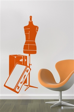 Orange Luggage Vintage Wall Decals