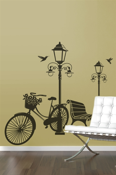 wall decals lamp and bicycle art without boundaries. Black Bedroom Furniture Sets. Home Design Ideas