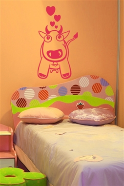Pink Cow Love Wall Decals