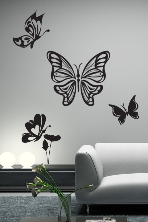 Butterfly flight wall decals wall stickers art without for Butterfly wall mural stickers