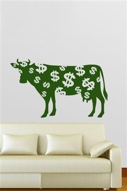Green Cow Wall Decals