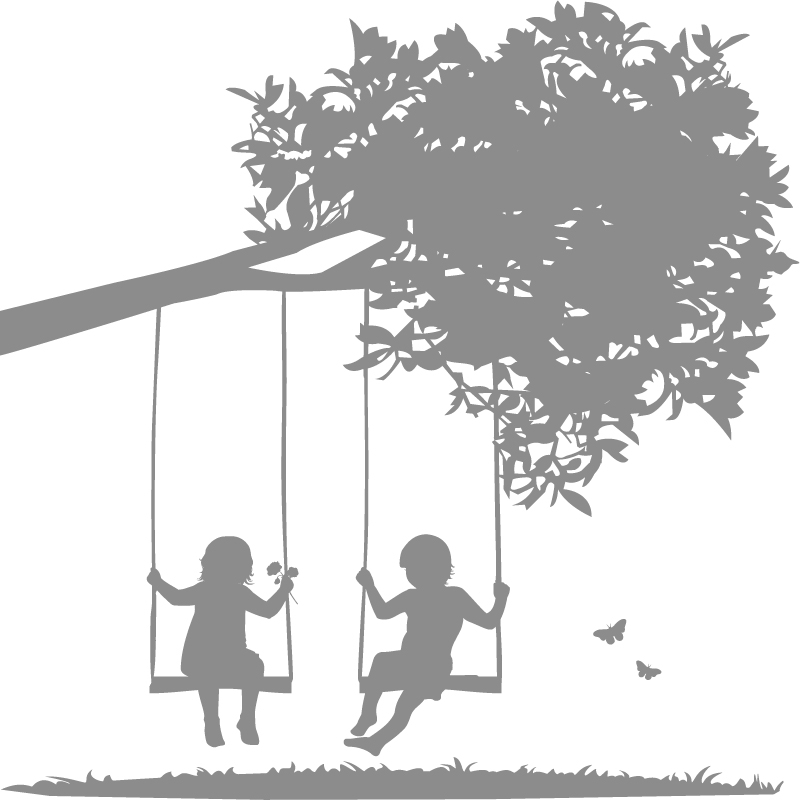 Kids on Swings Wall De...