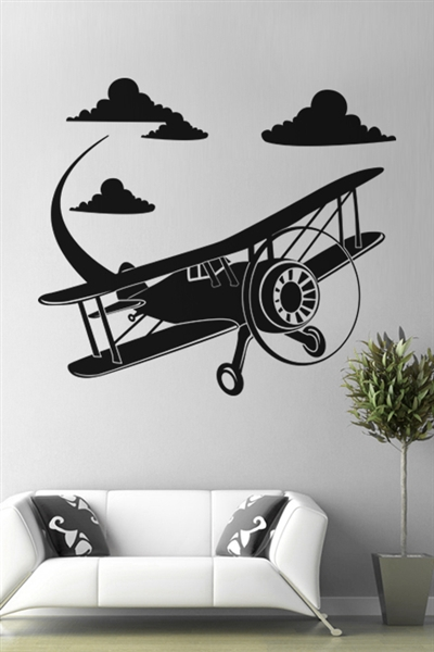 Biplane vinyl wall sticker