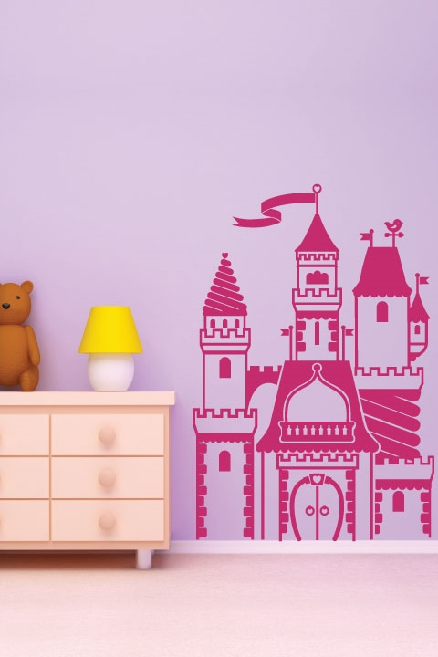 Kids wall decals princess castle art without for Castle wall mural sticker