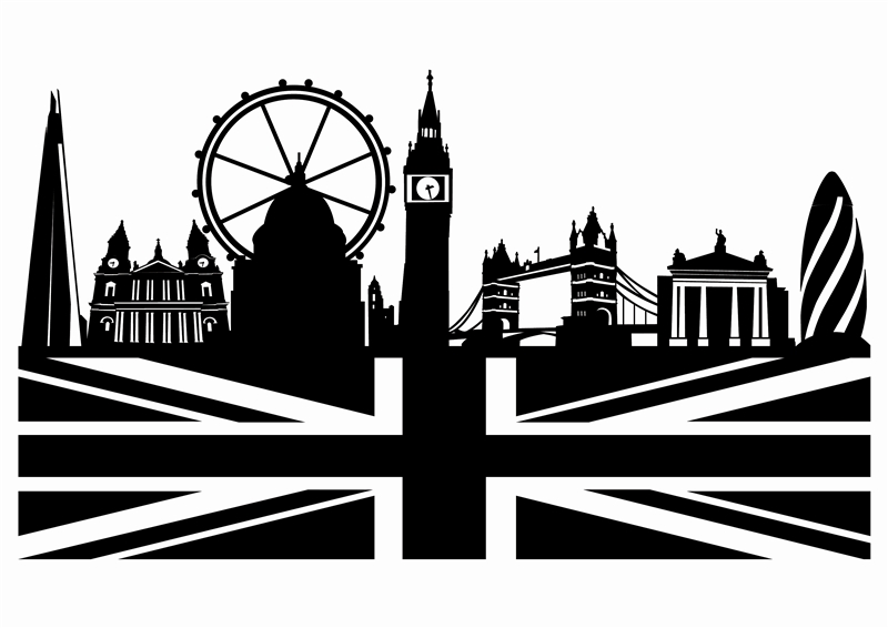 Wall decals london skyline art without boundaries for Black and white london mural wallpaper
