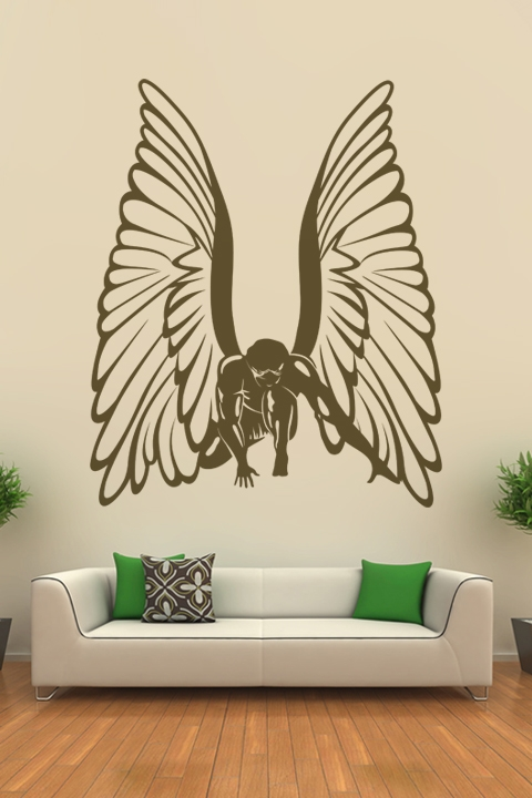 Wall decals super angel art without boundaries for Angel wall mural