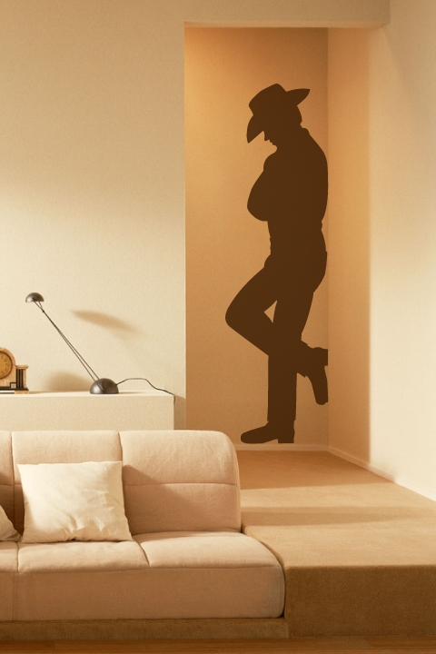Wall decals leaning cowboy silhouette art for Cowboy wall mural