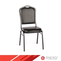 ENERGi Padded Stacking Chairs - Crown Back - Black Vinyl