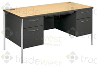 Classic Metal Instructor Desks - Double Pedestal Drawers