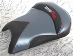 Custom Honda CBR 600RR Front Seat Charcoal Carbon Fiber w/Silver & Red Embroidering