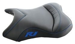 """New Image"" Custom R1 Front Seat Black Carbon Fiber & Blue Embroidering"