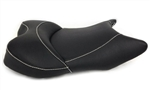 Yamaha R6 R1 Custom Shaped & Covered Black Vision Front Seat w/Silver Stitching