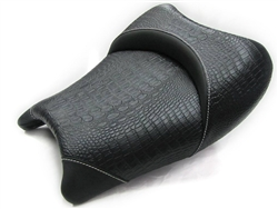 Hayabusa Custom Shaped Black Gator Front Seat w/White Stitching