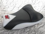 """New Image"" Black & White Carbon Fiber GSXR 600/750/1000 Custom Shaped & Covered Front Seat w/Red & Chrome Embroidering"