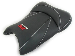 """New Image"" Black Carbon Fiber GSXR 600/750/1000 Custom Shaped & Covered Front Seat w/Red & Chrome Embroidering"
