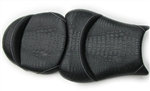 Custom Hayabusa Tutone Black Gator Front & Rear Seats w/White Sitching