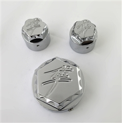 Hayabusa Chrome Engraved & Ball Cut 3D Hex Adjuster & Yoke Caps For Stock/OEM Triple Tree