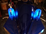 Custom Blue ST Machine Pig Spotter 2 Mirrors with Amber LED Turn Signals