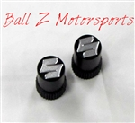 "Black/Silver Engraved ""S"" Logo Tire Valve Stem Caps"