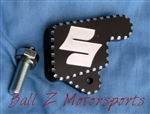 "Black/Silver Ball Cut Hayabusa Kickstand Switch/Bolt Cover w/ ""S"" Engraving"