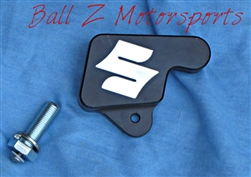 "Black Hayabusa Kickstand Switch/Bolt Cover w/ Silver""S"" Logo Engraved"
