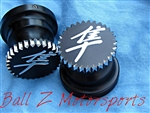 Black Anodized Engraved Kanji 30mm Fork Caps w/Star Cut Edges